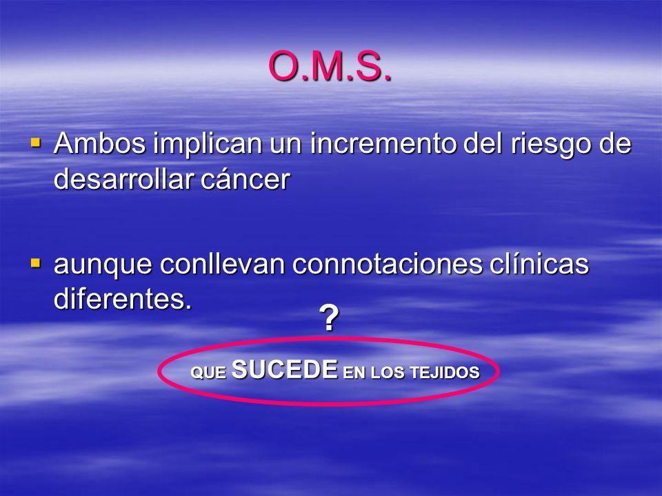 O.M.S. Ambos implican un incremento del riesgo de desarrollar cáncer Ambos implican un incremento del riesgo de desarrollar cáncer aunque conllevan co