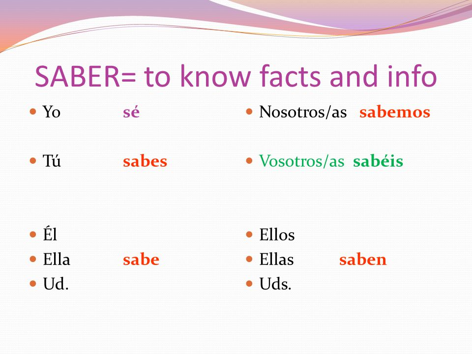 SABER= to know facts and info Yosé Túsabes Él Ellasabe Ud.