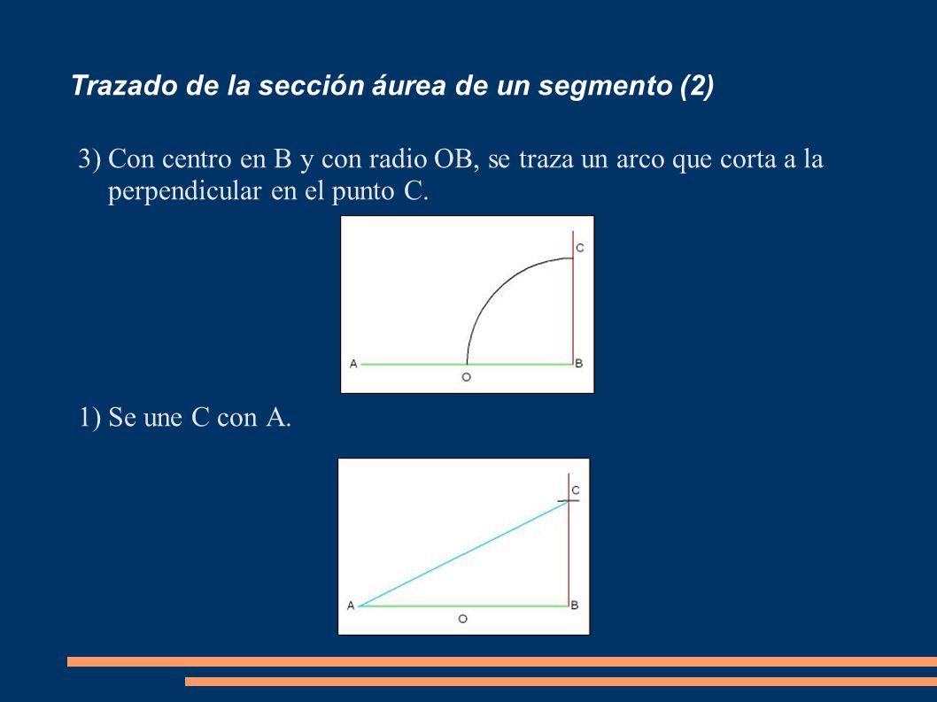 Trazado de la sección áurea de un segmento (2) 3)Con centro en B y con radio OB, se traza un arco que corta a la perpendicular en el punto C. 1)Se une