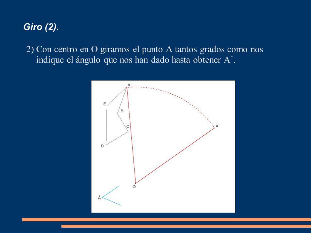 Giro (2). 2)Con centro en O giramos el punto A tantos grados como nos indique el ángulo que nos han dado hasta obtener A´.