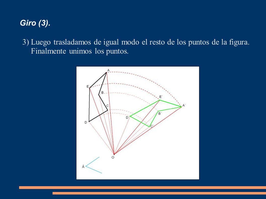 Giro (3). 3)Luego trasladamos de igual modo el resto de los puntos de la figura. Finalmente unimos los puntos.