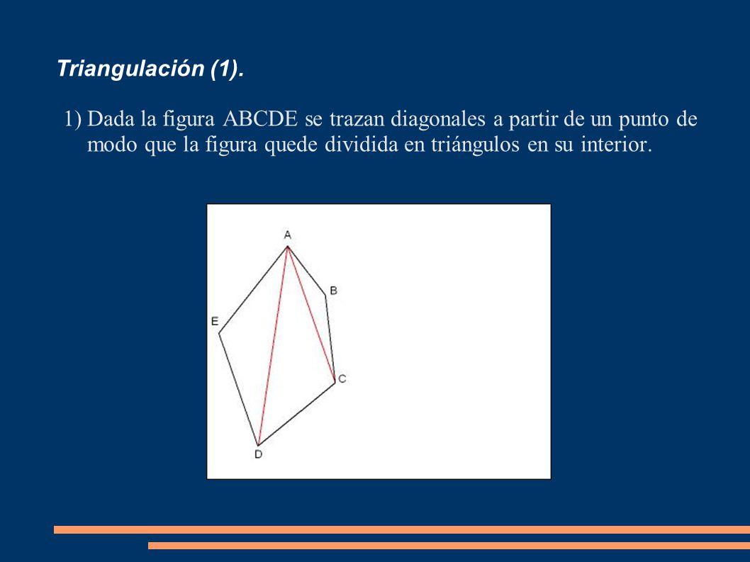 Triangulación (1). 1)Dada la figura ABCDE se trazan diagonales a partir de un punto de modo que la figura quede dividida en triángulos en su interior.