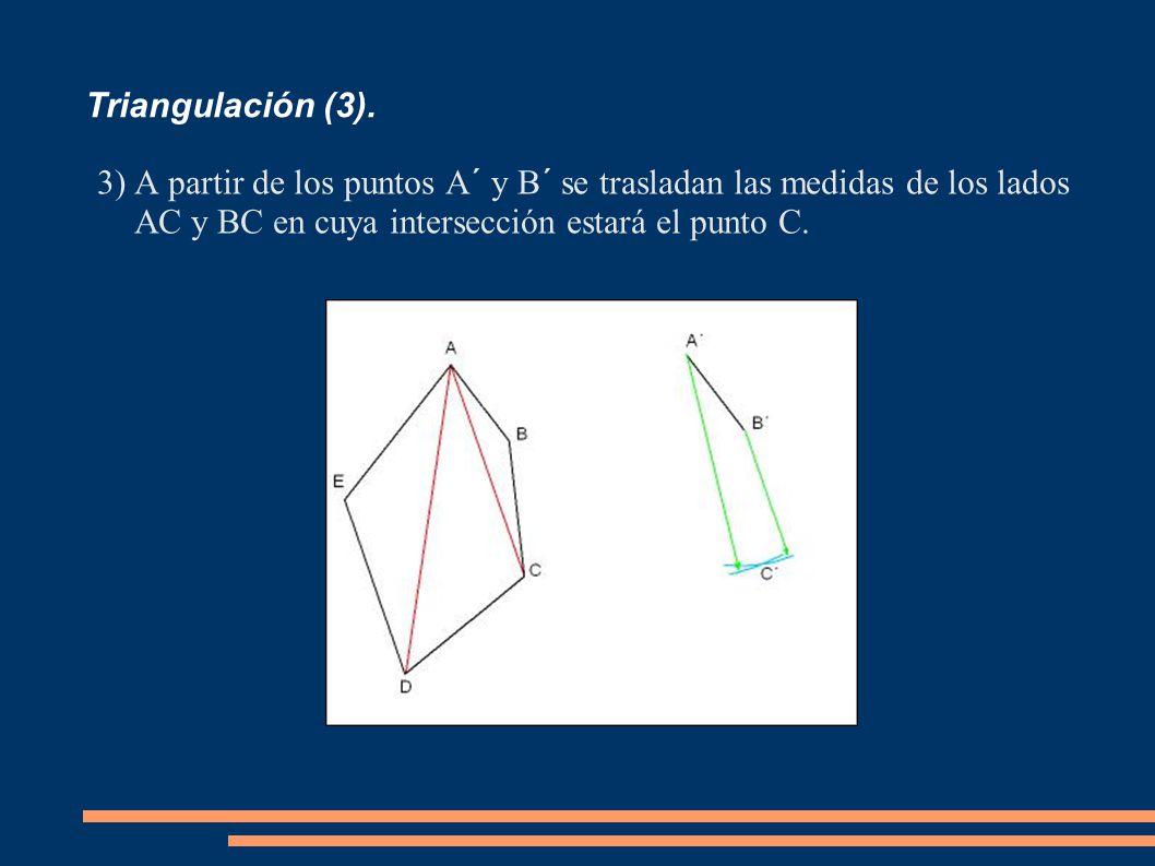 Triangulación (3). 3)A partir de los puntos A´ y B´ se trasladan las medidas de los lados AC y BC en cuya intersección estará el punto C.