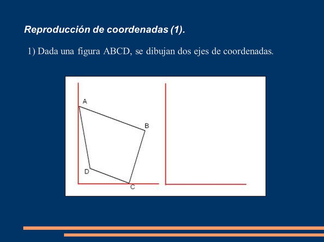 Reproducción de coordenadas (1). 1)Dada una figura ABCD, se dibujan dos ejes de coordenadas.