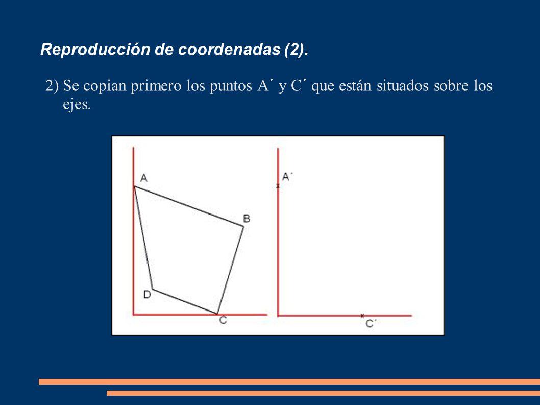 Reproducción de coordenadas (2). 2)Se copian primero los puntos A´ y C´ que están situados sobre los ejes.