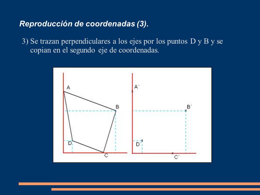 Reproducción de coordenadas (3). 3)Se trazan perpendiculares a los ejes por los puntos D y B y se copian en el segundo eje de coordenadas.