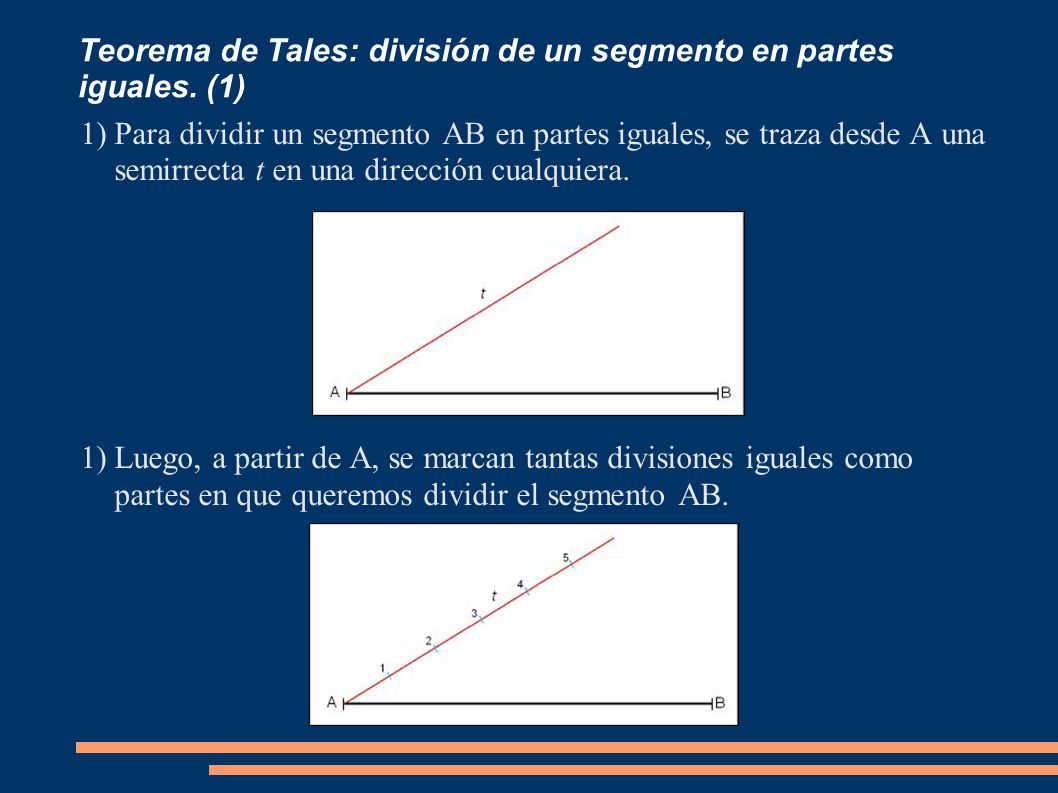 Teorema de Tales: división de un segmento en partes iguales. (1) 1)Para dividir un segmento AB en partes iguales, se traza desde A una semirrecta t en