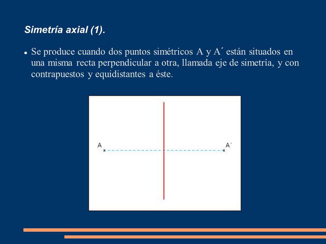 Simetría axial (1). Se produce cuando dos puntos simétricos A y A´ están situados en una misma recta perpendicular a otra, llamada eje de simetría, y