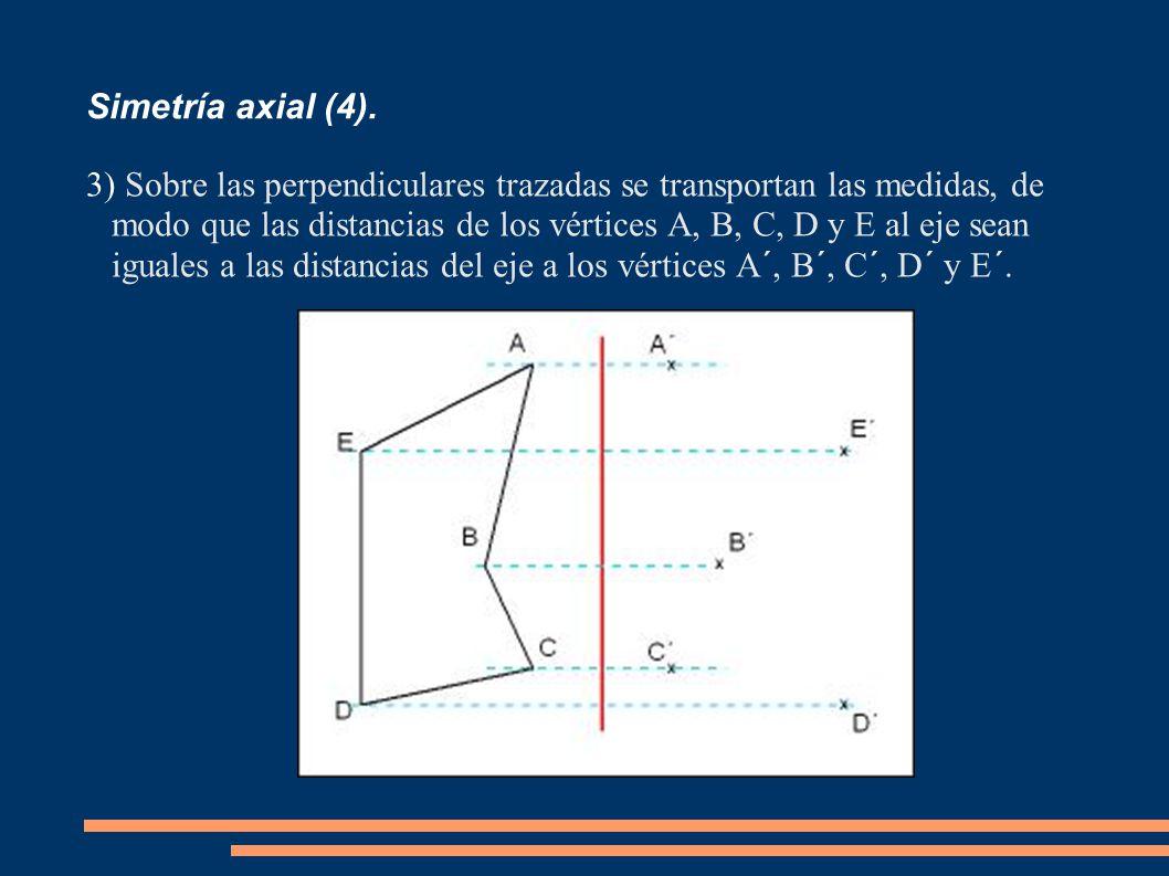 Simetría axial (4). 3) Sobre las perpendiculares trazadas se transportan las medidas, de modo que las distancias de los vértices A, B, C, D y E al eje