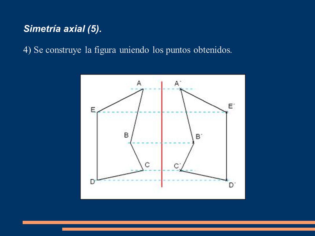 Simetría axial (5). 4) Se construye la figura uniendo los puntos obtenidos.