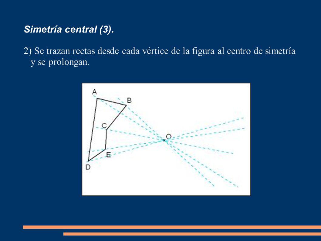 Simetría central (3). 2) Se trazan rectas desde cada vértice de la figura al centro de simetría y se prolongan.