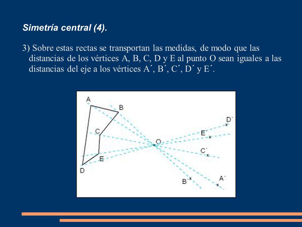 Simetría central (4). 3) Sobre estas rectas se transportan las medidas, de modo que las distancias de los vértices A, B, C, D y E al punto O sean igua