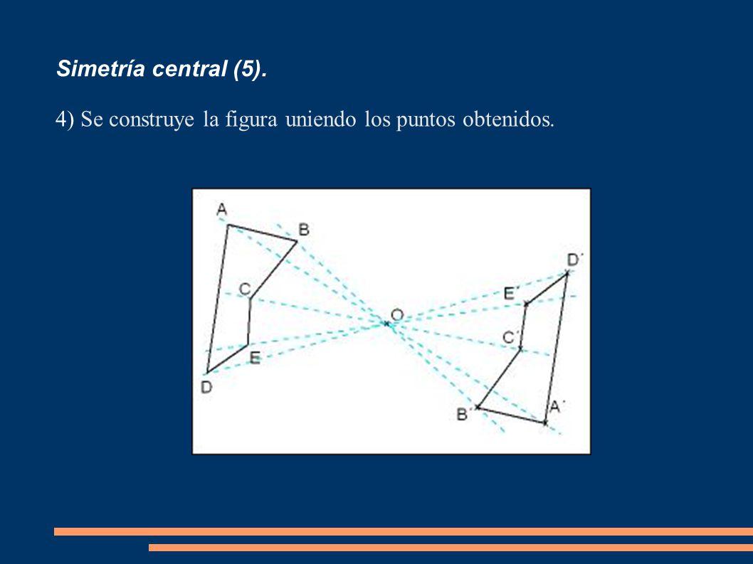 Simetría central (5). 4) Se construye la figura uniendo los puntos obtenidos.