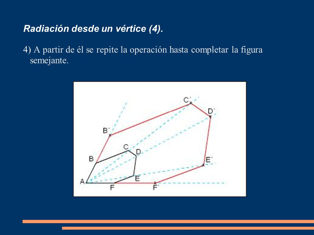 Radiación desde un vértice (4). 4) A partir de él se repite la operación hasta completar la figura semejante.