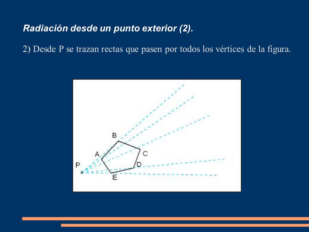 Radiación desde un punto exterior (2). 2) Desde P se trazan rectas que pasen por todos los vértices de la figura.