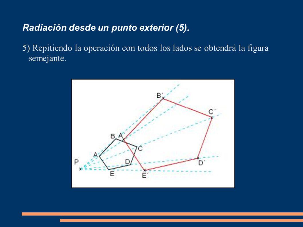 Radiación desde un punto exterior (5). 5) Repitiendo la operación con todos los lados se obtendrá la figura semejante.