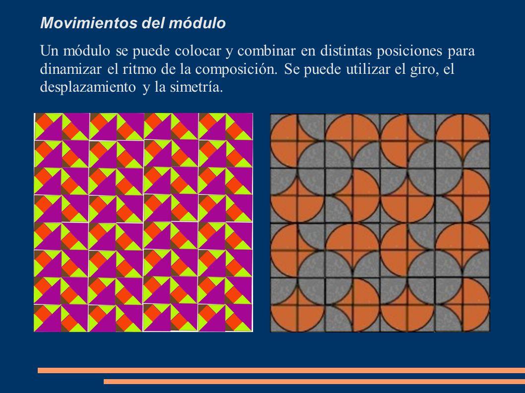Movimientos del módulo Un módulo se puede colocar y combinar en distintas posiciones para dinamizar el ritmo de la composición. Se puede utilizar el g