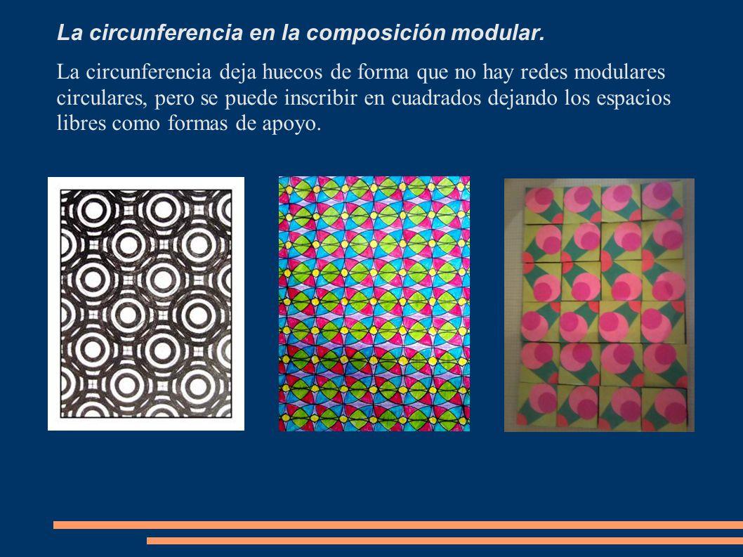 La circunferencia en la composición modular. La circunferencia deja huecos de forma que no hay redes modulares circulares, pero se puede inscribir en