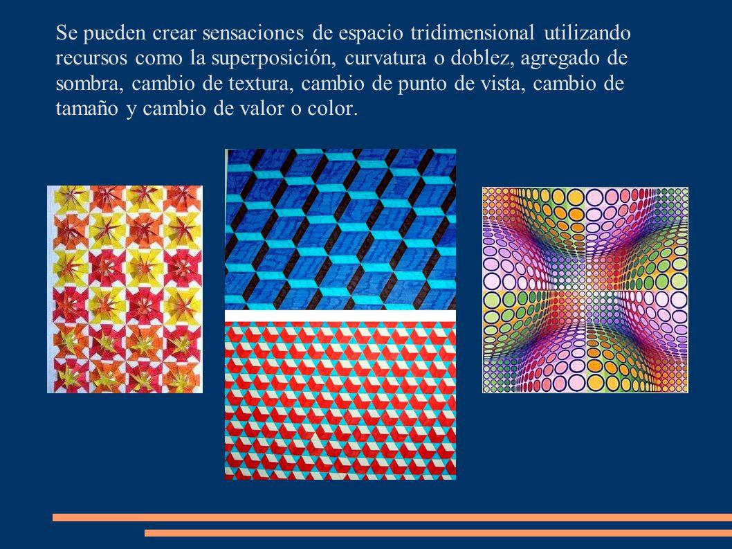 Se pueden crear sensaciones de espacio tridimensional utilizando recursos como la superposición, curvatura o doblez, agregado de sombra, cambio de tex
