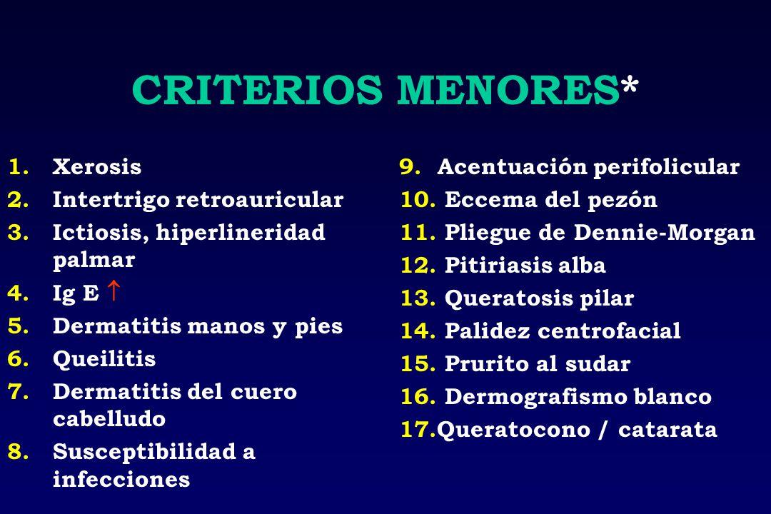CRITERIOS MENORES* 1.Xerosis 2.Intertrigo retroauricular 3.Ictiosis, hiperlineridad palmar 4.Ig E 5.Dermatitis manos y pies 6.Queilitis 7.Dermatitis d