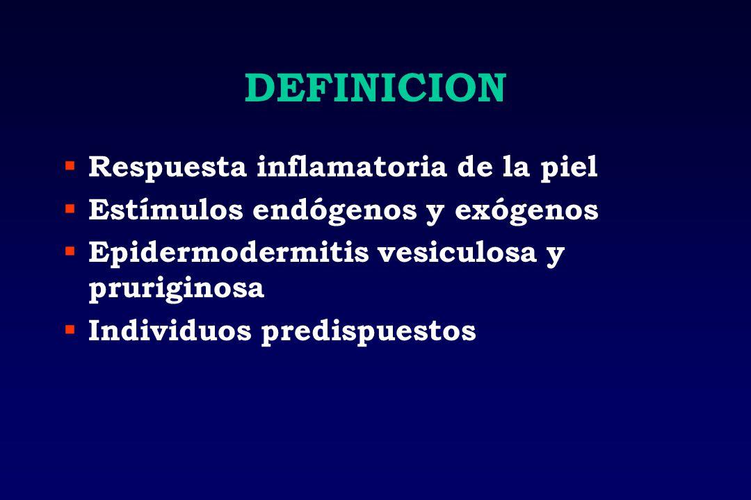 DEFINICION Respuesta inflamatoria de la piel Estímulos endógenos y exógenos Epidermodermitis vesiculosa y pruriginosa Individuos predispuestos