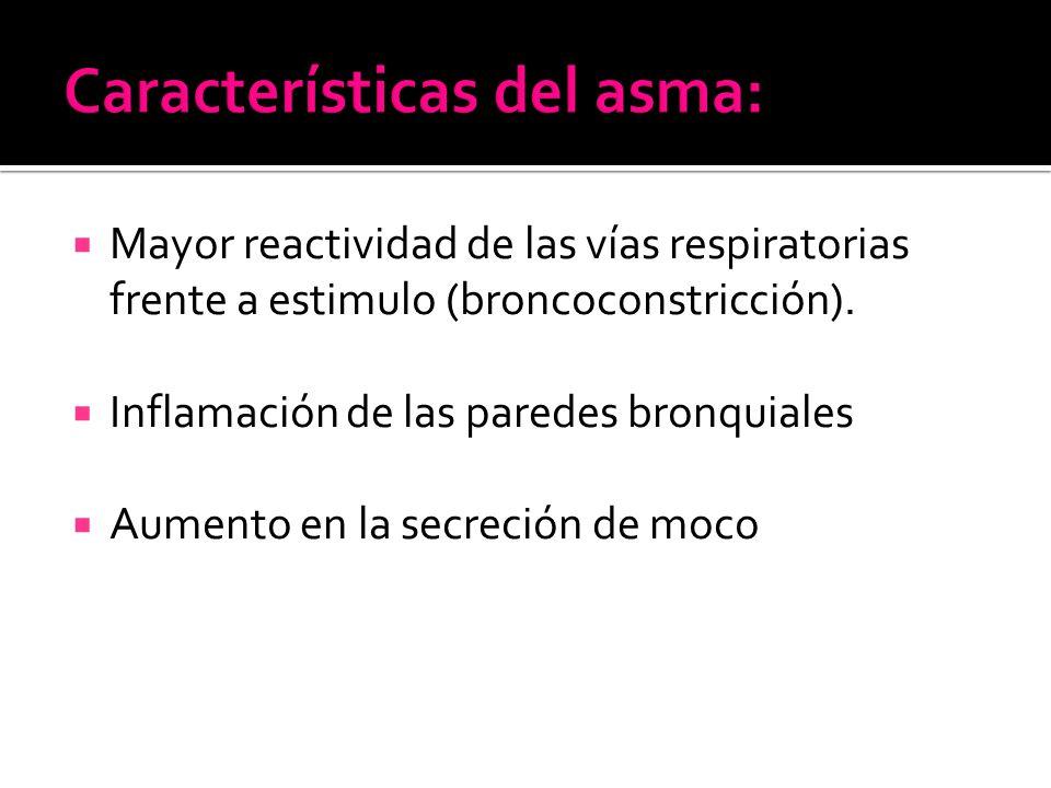 Mayor reactividad de las vías respiratorias frente a estimulo (broncoconstricción).