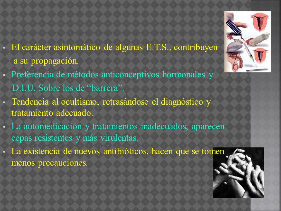 El carácter asintomático de algunas E.T.S., contribuyen a su propagación. Preferencia de métodos anticonceptivos hormonales y D.I.U. Sobre los de barr