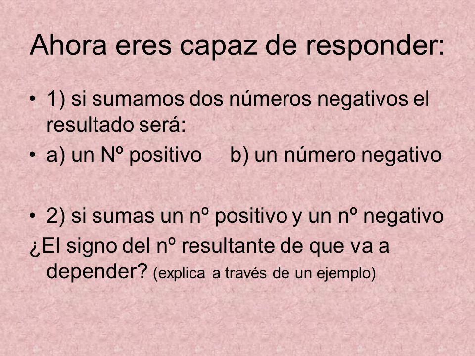 Ahora eres capaz de responder: 1) si sumamos dos números negativos el resultado será: a) un Nº positivo b) un número negativo 2) si sumas un nº positivo y un nº negativo ¿El signo del nº resultante de que va a depender.
