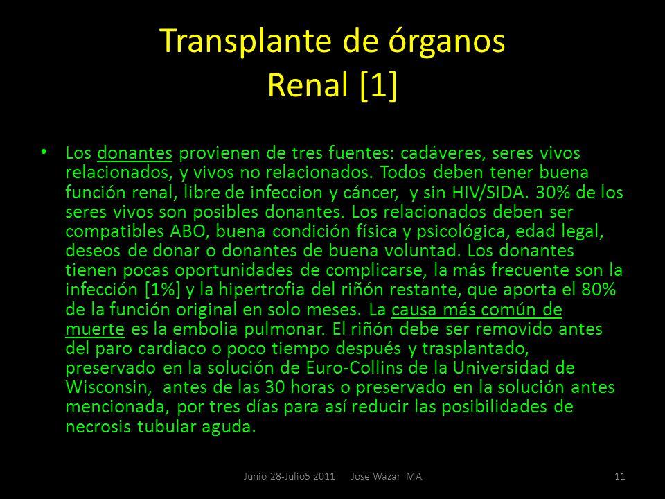 Transplante de órganos Renal [1] Los donantes provienen de tres fuentes: cadáveres, seres vivos relacionados, y vivos no relacionados. Todos deben ten