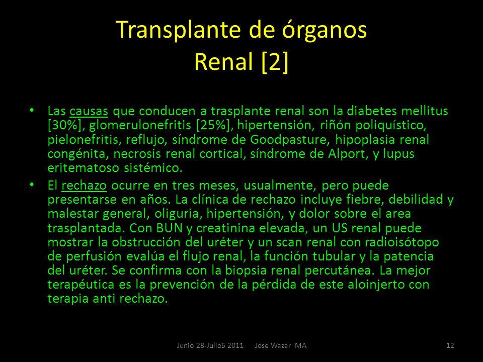 Transplante de órganos Renal [2] Las causas que conducen a trasplante renal son la diabetes mellitus [30%], glomerulonefritis [25%], hipertensión, riñ