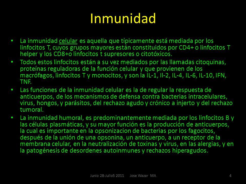 Inmunidad La inmunidad celular es aquella que típicamente está mediada por los linfocitos T, cuyos grupos mayores están constituidos por CD4+ o linfoc