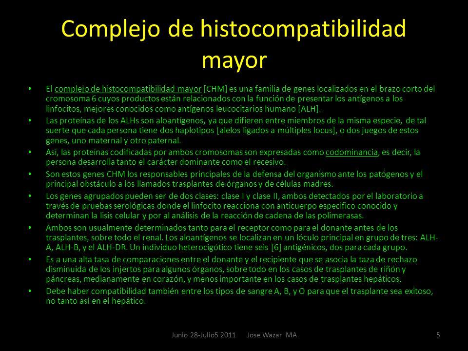 Complejo de histocompatibilidad mayor El complejo de histocompatibilidad mayor [CHM] es una familia de genes localizados en el brazo corto del cromoso