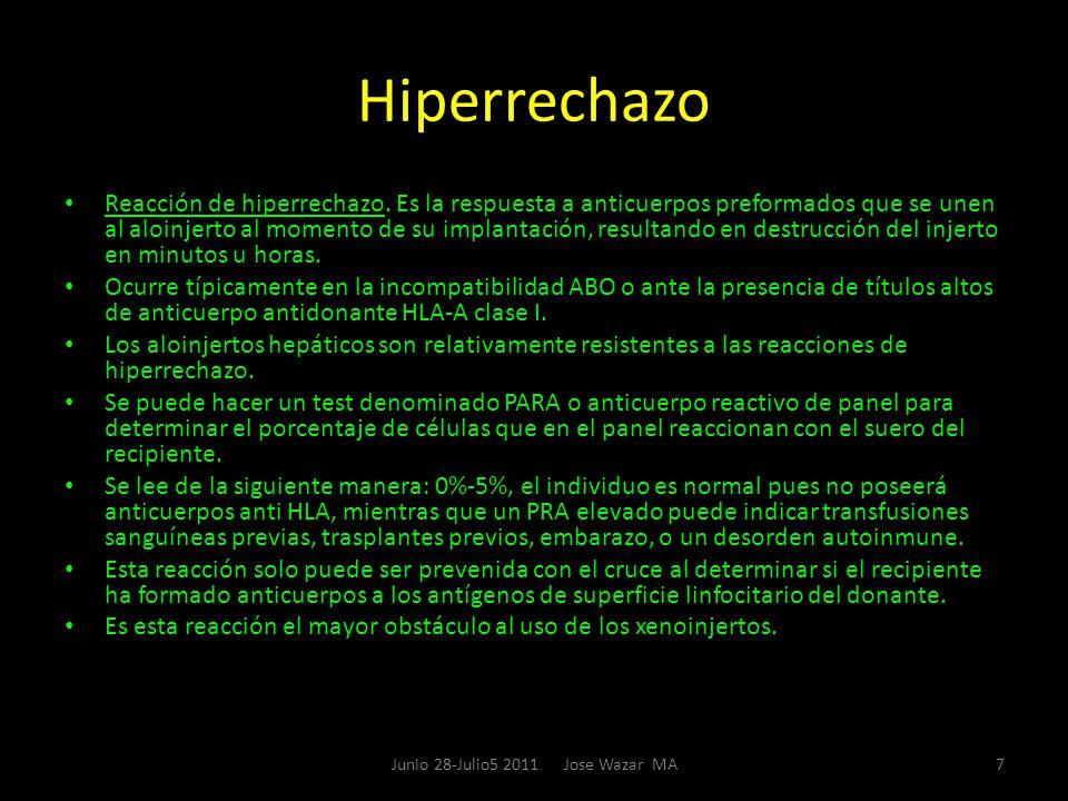 Hiperrechazo Reacción de hiperrechazo. Es la respuesta a anticuerpos preformados que se unen al aloinjerto al momento de su implantación, resultando e