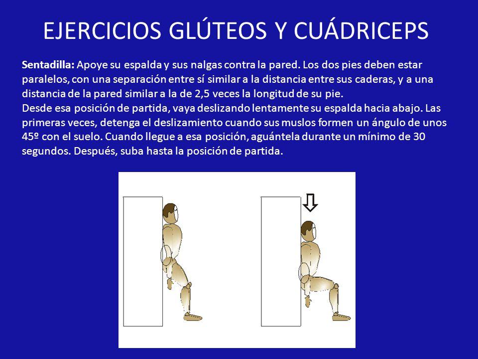 EJERCICIOS GLÚTEOS Y CUÁDRICEPS Sentadilla: Apoye su espalda y sus nalgas contra la pared.