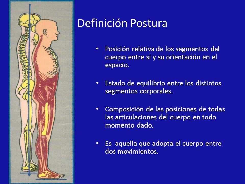 Definición Postura Posición relativa de los segmentos del cuerpo entre si y su orientación en el espacio.