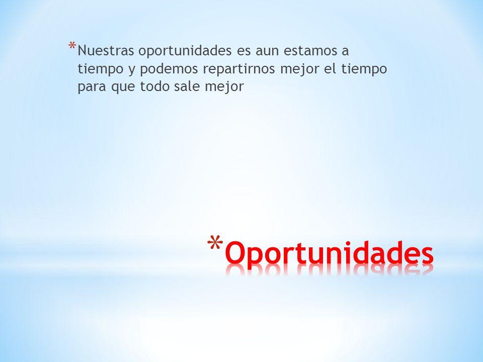 * Nuestras oportunidades es aun estamos a tiempo y podemos repartirnos mejor el tiempo para que todo sale mejor