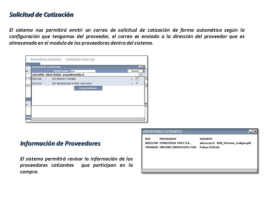 Solicitud de Cotización El sistema nos permitirá emitir un correo de solicitud de cotización de forma automática según la configuración que tengamos del proveedor, el correo es enviado a la dirección del proveedor que es almacenada en el modulo de los proveedores dentro del sistema.