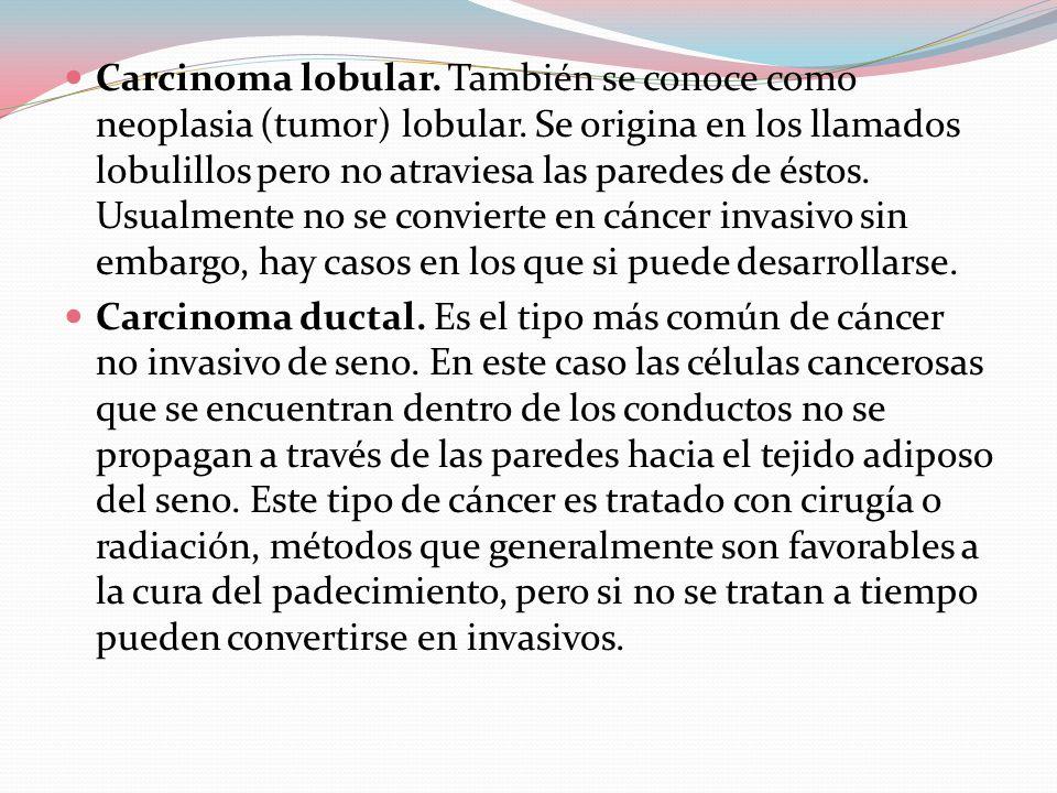  Carcinoma lobular.También se conoce como neoplasia (tumor) lobular.
