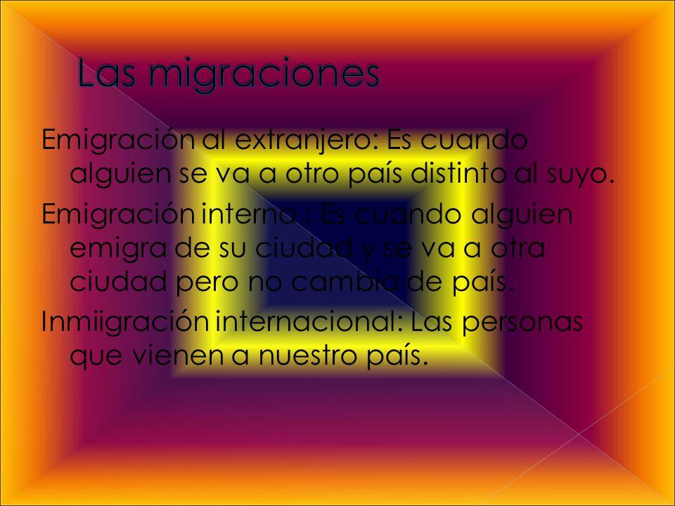 Emigración al extranjero: Es cuando alguien se va a otro país distinto al suyo.