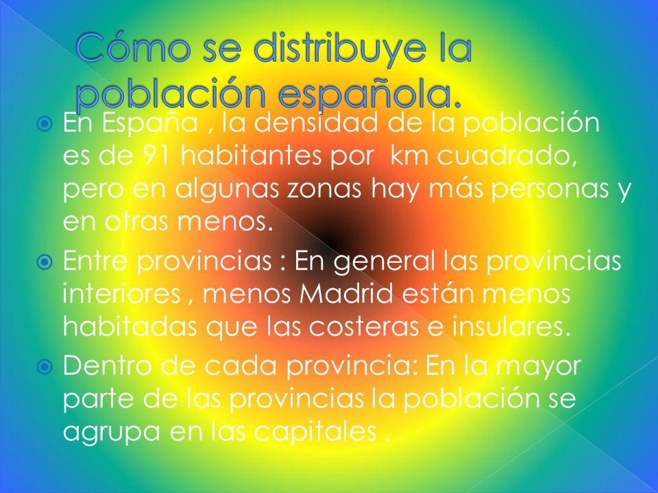  En España, la densidad de la población es de 91 habitantes por km cuadrado, pero en algunas zonas hay más personas y en otras menos.