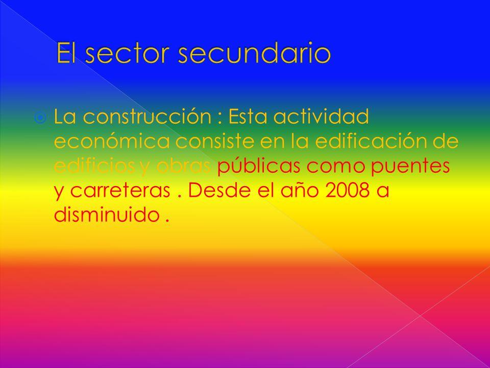  La construcción : Esta actividad económica consiste en la edificación de edificios y obras públicas como puentes y carreteras.
