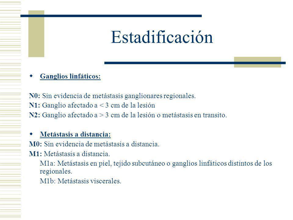 Estadificación  Ganglios linfáticos: N0: Sin evidencia de metástasis ganglionares regionales.