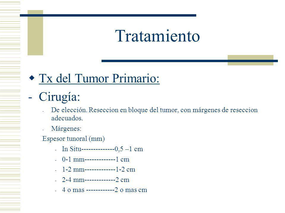 Tratamiento  Tx del Tumor Primario: -Cirugía: - De elección.