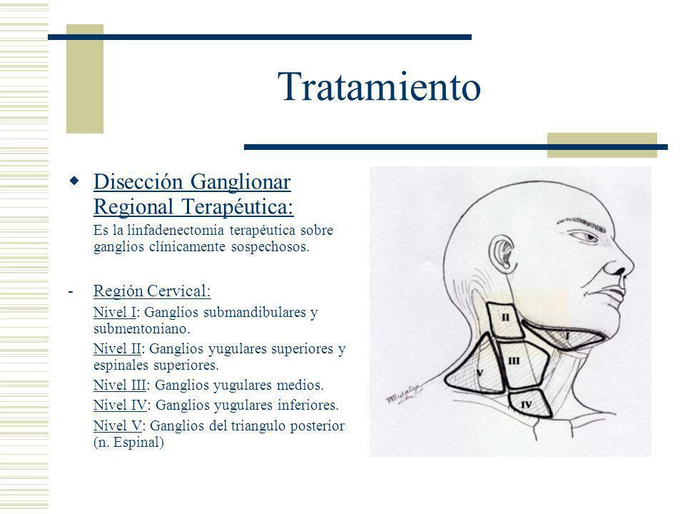 Tratamiento  Disección Ganglionar Regional Terapéutica: Es la linfadenectomia terapéutica sobre ganglios clínicamente sospechosos.
