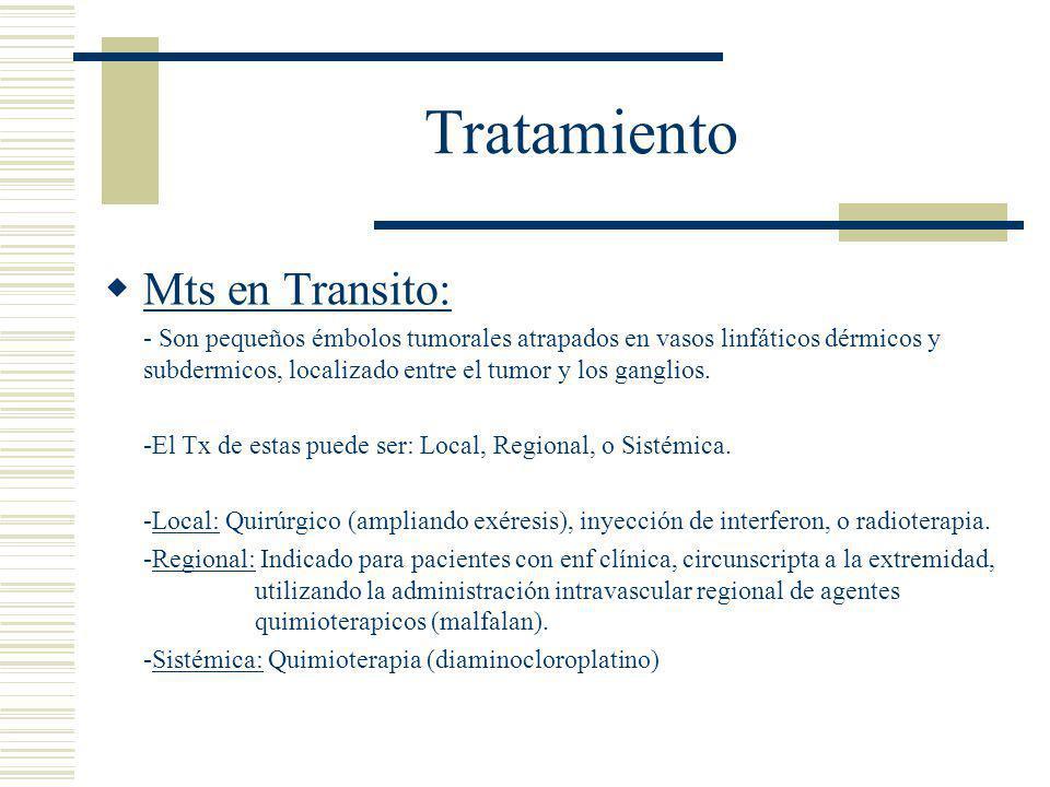 Tratamiento  Mts en Transito: - Son pequeños émbolos tumorales atrapados en vasos linfáticos dérmicos y subdermicos, localizado entre el tumor y los ganglios.
