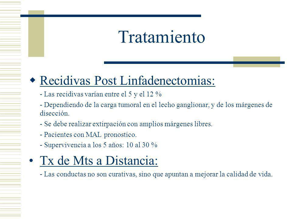 Tratamiento  Recidivas Post Linfadenectomias: - Las recidivas varían entre el 5 y el 12 % - Dependiendo de la carga tumoral en el lecho ganglionar, y de los márgenes de disección.