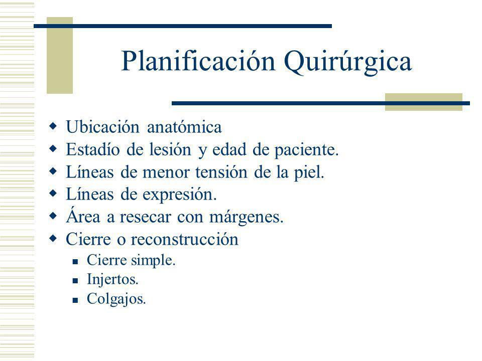 Planificación Quirúrgica  Ubicación anatómica  Estadío de lesión y edad de paciente.