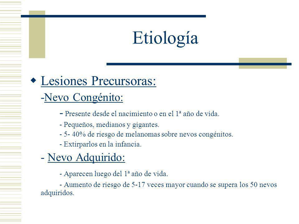 Etiología  Lesiones Precursoras: -Nevo Congénito: - Presente desde el nacimiento o en el 1ª año de vida.