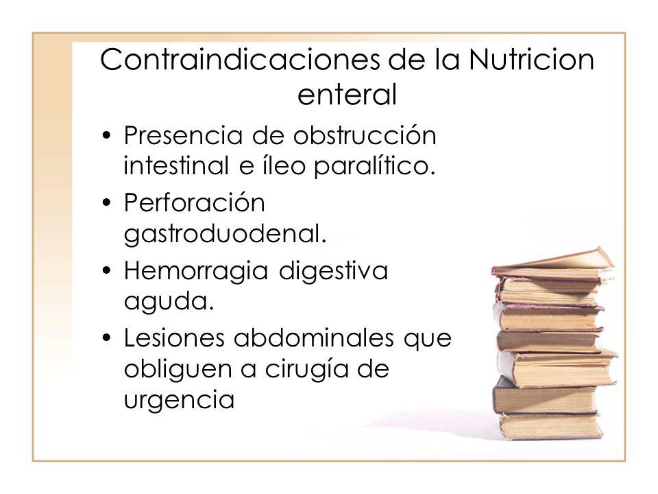 Contraindicaciones de la Nutricion enteral •Presencia de obstrucción intestinal e íleo paralítico. •Perforación gastroduodenal. •Hemorragia digestiva