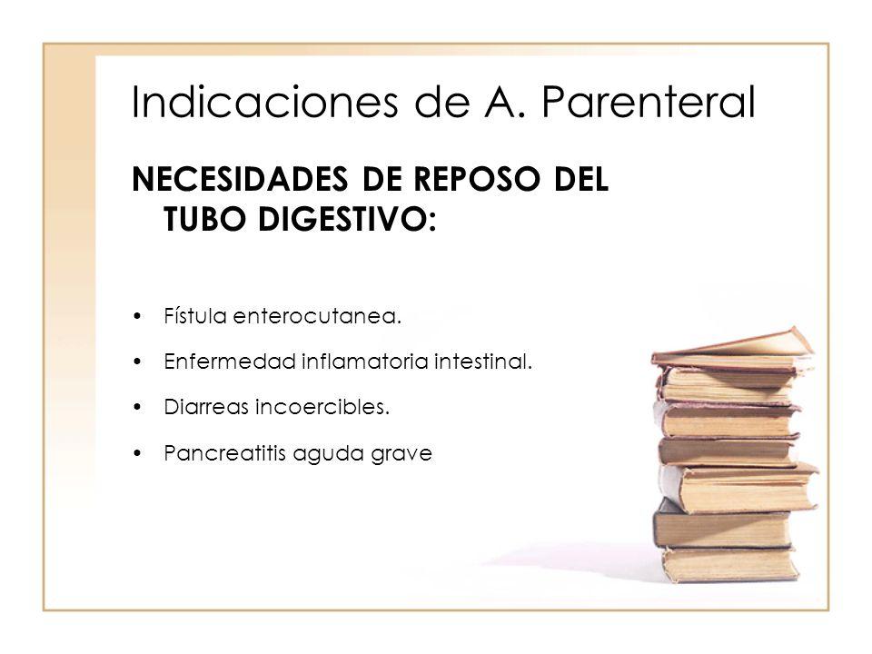Indicaciones de A. Parenteral NECESIDADES DE REPOSO DEL TUBO DIGESTIVO: •Fístula enterocutanea. •Enfermedad inflamatoria intestinal. •Diarreas incoerc
